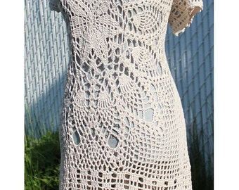 Natural Colors Crochet Cotton Mini Dress Made to Order in any size