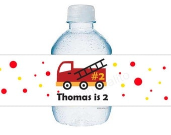 Fire Fighters Water Bottle Labels, 5 Personalized Birthday party Labels Original Fire Fighters party theme  A618