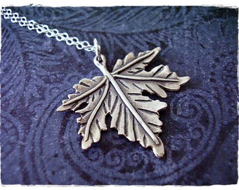 Large Maple Leaf Necklace - Sterling Silver Maple Leaf Charm on a Delicate Sterling Silver Cable Chain or Charm Only