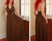 ESTEVEZ Couture 1970's Long Draped Chocolate Nylon Jersey Halter Glamor Gown w/ Huge Rhinestone Crescent Moon Detail - Designer - Size M