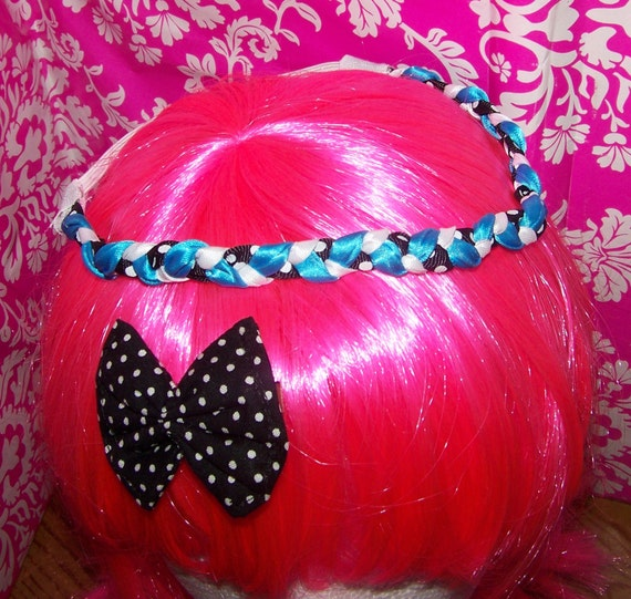 Blue White Black - Stretchy Braided Headband - Black - Polka Dots - Boutique Hair bow - One size fits most