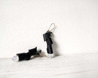 Black white earrings futuristic industrial dangle earrings, caoutchouc minimalist rubber jewelry
