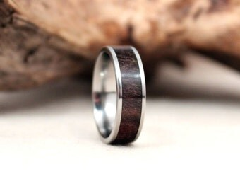 Jamaican Blue Mahoe Wood Ring Lined With Titanium