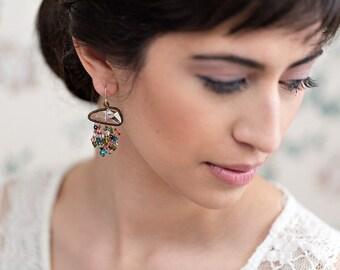 Cascading crystal earrings - wirewrapped framed crystal vintage look earrings
