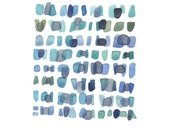 Sea Glass  Watercolor painting Seaglass Original Painting blue green grey Abstract paintingocean blue - LouiseArtStudio