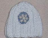 PREEMIE NEWBORN HAT Blue Hand Knit Beanie Kufi Infant w snowflake applique