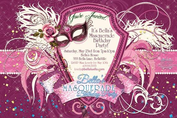 masquerade party invitation mardi gras party party by bellaluella, Party invitations