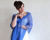 Blue Scarf  Tracery Shawl Linen Wrap Gauzy Stole Knitted Gauze Linen Bridesmaid  Thin Lace Scarf