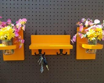 IN  STOCK  Mason Jar Flower Vase Holder/ Three Piece Set/ Coat-Key Holder Shelf