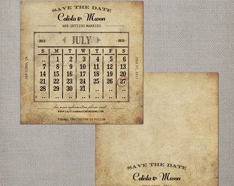 "Save the Date Invitations / Vintage Calendar / Save the Date - the ""Calista 2"""