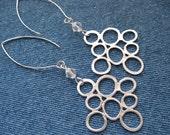 Modern Matte Silver Earrings - Abstract Bubble Design - Lightweight
