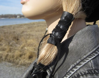 Black Leather Hair Wrap Ponytail Holder Hair Jewelry BOHO Bohemian Resort  Wear Z1010