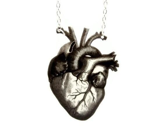 Black Heart Necklace Anti Valentines Day Anatomical Anatomy Statement Jewelry Vintage Illustration Love Customizable