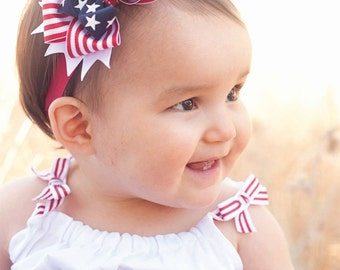 Baby Headband, 4th of July, Baby Bow Stars and Stripes Spikes, 4th of July Boutique Bow, Navy Bow, Red Bow