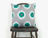 SALE - Outdoor pillow cover - Throw pillow covers 18x18 - Modern decor -  Ikat dots in turquoise, white and grey decorative pillow