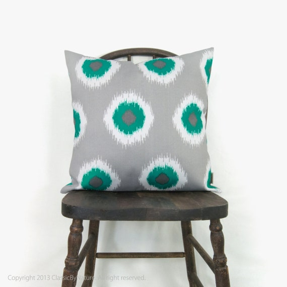 SALE || Outdoor pillow cover - Throw pillow covers 18x18 - Modern decor -  Ikat dots in turquoise, white and grey decorative pillow