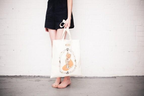 Curious Fox Printed Tote Bag