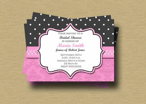 Bridal Shower Invitation Pink & Gray