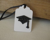 Graduation Gift Tags Set of SIX Black and White Glittered Mortar Board Hat Graduation Day Gift Tags SnowNoseCrafts