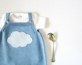 Knitted overalls in sky blue with a cloud. 100% cotton. READY TO SHIP size newborn.
