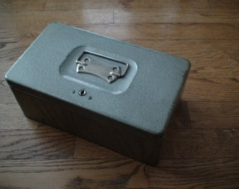 Swanco USA Grey Industrial Metal Records Box, Cash Box -- Treasury Item