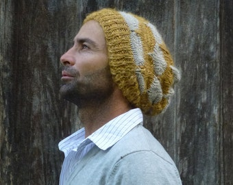 Beanie Knitting Pattern - Slouchy Unisex Adult Man/Woman/Teen - Knit Hat pattern PDF - toque, beret, funky hat pattern