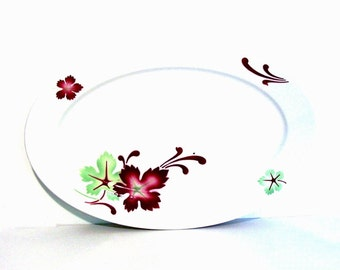 Vintage Restaurant China Oval Serving Platter Fall Leaf Red Green Anafora Buffalo China Holiday Dinnerware