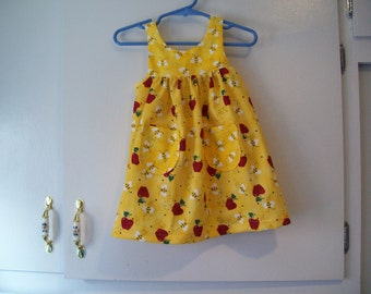 Infant Sundress, Bumble Bees & Apples, Last One in This Fabric--Size 6-9 Months