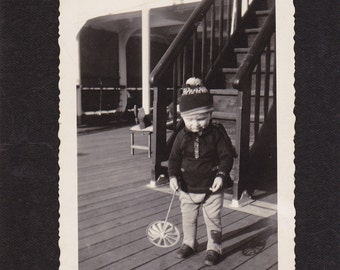 Aboard the S. S. Bremen- 1930s Vintage Photograph- Little Boy Playing on Deck- German Ocean Liner- Found Photo- Paper Ephemera