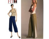 Wide Leg Pants Pattern Waist 26 to 50 Uncut Vogue V1050 Sandra Betzina Flared Leg Capri or Full Length Multi Size Womens Sewing Pattern