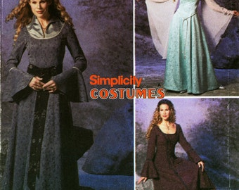 Princess Bride Dress Pattern Simplicity 9891 Uncut Gothic Medieval Bell Sleeves Formal Evening Cosplay Wedding Gown Womens Sewing Patterns