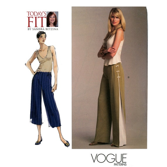 Wide Leg Pants Pattern Waist 26 to 50 Uncut Vogue V1050 Sandra