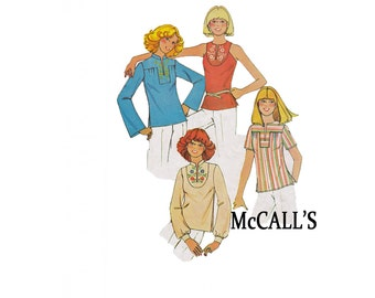 1976 Set of Tops McCall's 5021 Size small 10-12 Yoked cute summer retro style sewing pattern