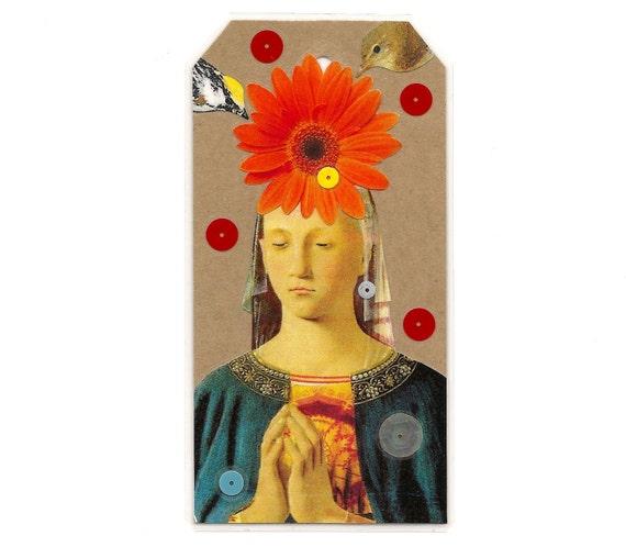 collage bookmark - Lady Fortune - shrine art - altered art collage - woman, bird, flower art