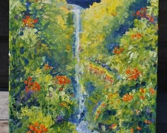 Oil Painting; Waterfalls Near Hilo, HI
