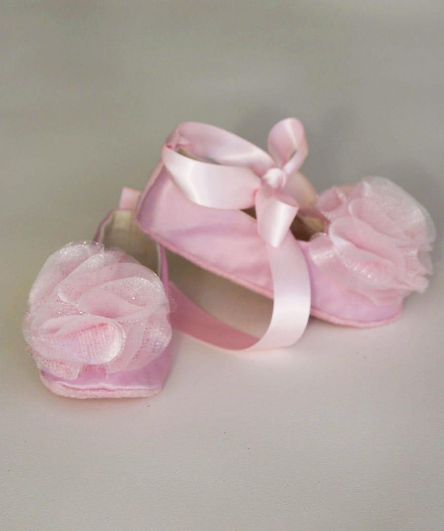 Pink Satin Baby Ballet Slipper Flower Girl Ballet Flat In 23