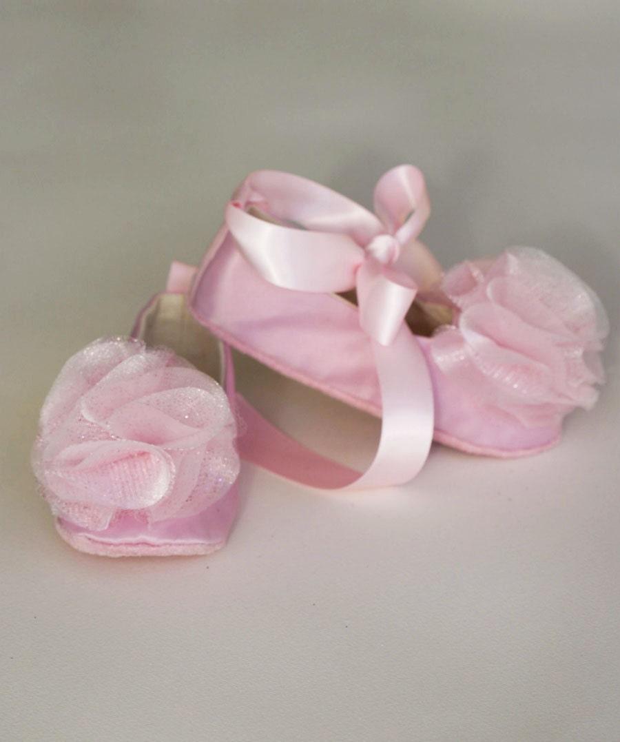 pink satin baby ballet slipper flower ballet flat in 23