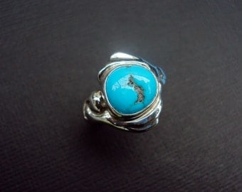 Blue wave turquoise ring