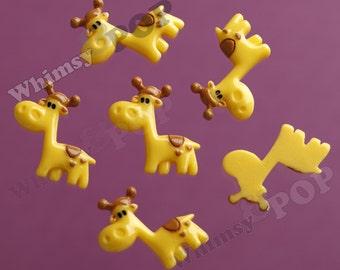 5 - OVERSTOCK SALE Kawaii Yellow Giraffe Cabochons, Resin Flatback Cabochons, 27mm (R6-016)