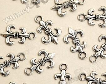 10 - Fleur de Lis Charms, Tibetan Silver Charms, 23mm x 14mm (3-5B)