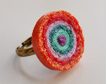 Mexican Paper Flower Ring, Cinco De Mayo Ring, Mexican Fiesta Jewelry