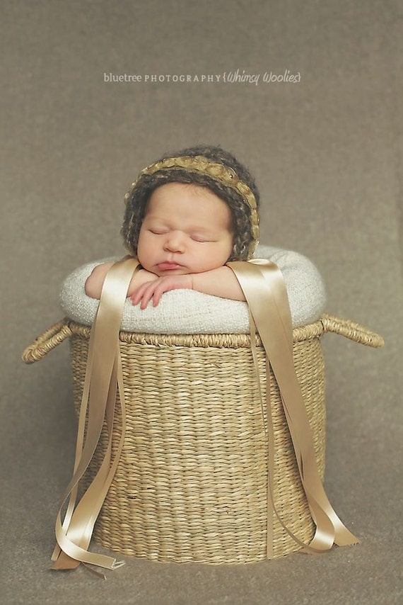 Baby Crochet Hat Pattern: 'Ribbons & Lace Bonnet', Baby Crochet Bonnet, 0-12 months