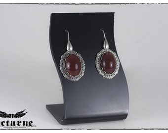 Red Carnelian Victorian Earrings - Silver Plated Stone Earrings - Victorian Gothic Jewelry