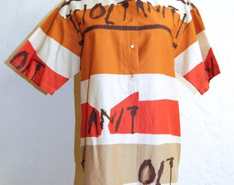 Vintage 80s French New Wave Print Cotton Tunic Top by Kacherine