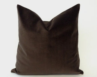 Chocolate Brown Decorative Throw Pillow Cover - Medium Weight Cotton Velvet - Invisible Zipper Closure- - Knife Or Piping Edge