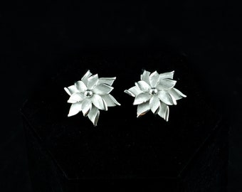 "Vintage ""Jewels by Trifari"" Silvertone Floral Clip-On Earrings with Original Tag"