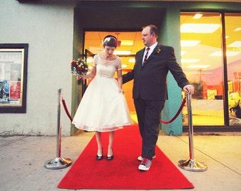 Tea Length Wedding with Short Sleeves, Boatneck wedding dress, Illusion Sweetheart Neckline, Short Polka Dot wedding dress,  Eco Friendly