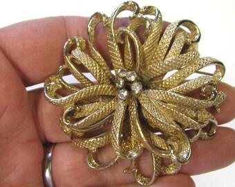 Vintage Rhinestone Gold tone Flower Brooch, Wear or Repurpose