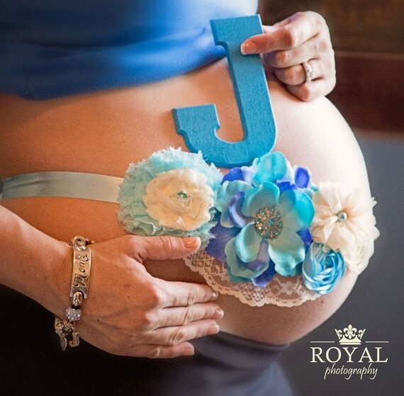 Items Similar To Vintage Turquoise Blue Maternity Sash