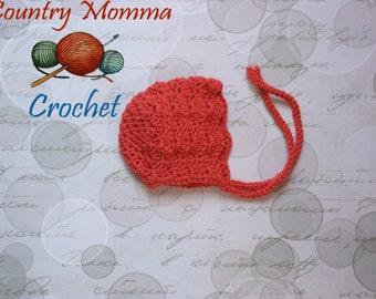 Crochet newborn bonnet, crochet coral bonnet, crochet cream bonnet, crochet lacy bonnet, baby shower gift, baby girl bonnet
